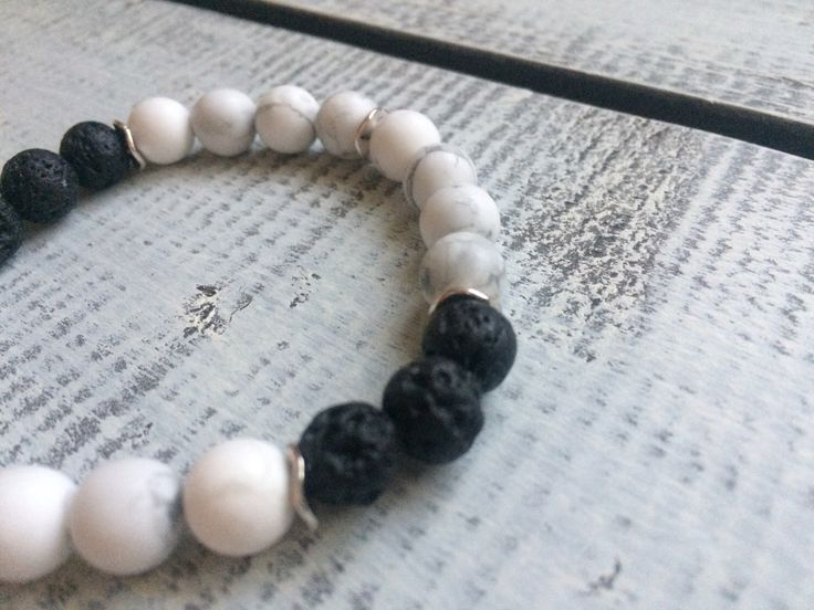 Howlite and lava stone diffuser bracelet by BarefootCreationsDV on Etsy https://www.etsy.com/ca/listing/491920655/howlite-and-lava-stone-diffuser-bracelet