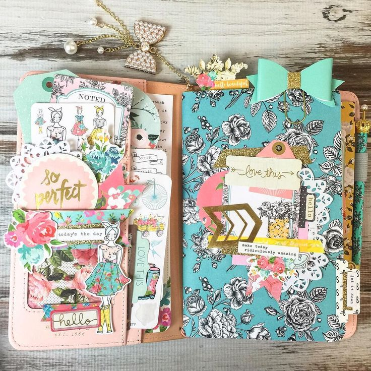 sunny.leah: My rose gold traveler's notebook from @websterspages, all dressed up with @theplannersociety May kit.