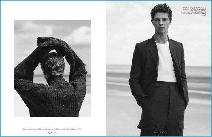 Model Tim Schuhmacher heads to the beach with Vogue Man Netherlands. The top model sports menswear from Damir Doma, Rick Owens, and Calvin Klein Collection.