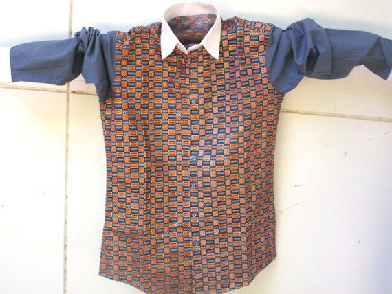 Italian Style Men's Shirt African Fabrics Wax Red Blue