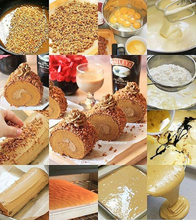 Mocca Nougat Roll Cake Richmoist Tanpa Emulsifier Made By Tintinrayner Sore Mommiess Ceritanya Saya Lagi Ngidam Berat Sama Mocca No Kue Gulung Makanan Kue