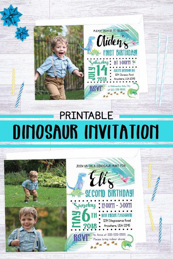 Dinosaur Invitation Printable Birthday Party Invite Custom Boy First Ideas