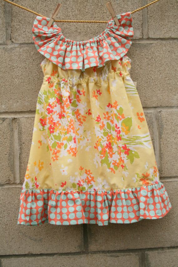 Toddler Sun Dress, size 2, Vintage Yellow Floral Fabric $32.00