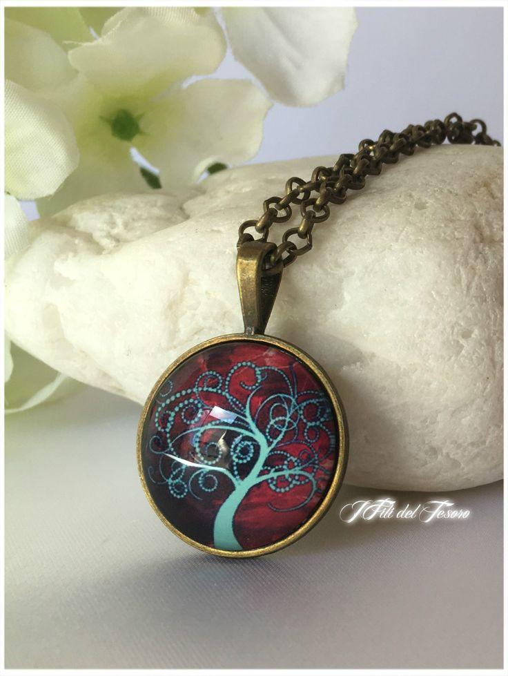 Collana lunga in bronzo con medaglione albero della vita, ciondolo con cabochon in vetro albero della vita, spiritual, zen, bohochic, gift di IFilidelTesoro su Etsy