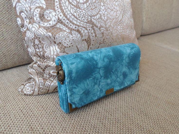 Bavlnená tyrkysová peňaženka materiál bavlna výstuž  decovil, zips z umel.hmoty na mince