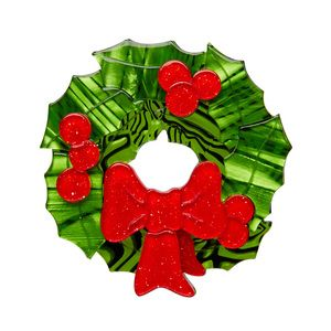 """Deck the Halls"" Kitchy Christmas Erstwilder Brooch"