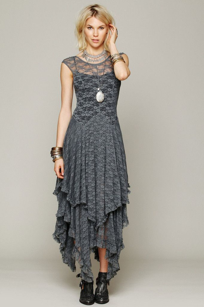 Lace Maxi Dress in Gray