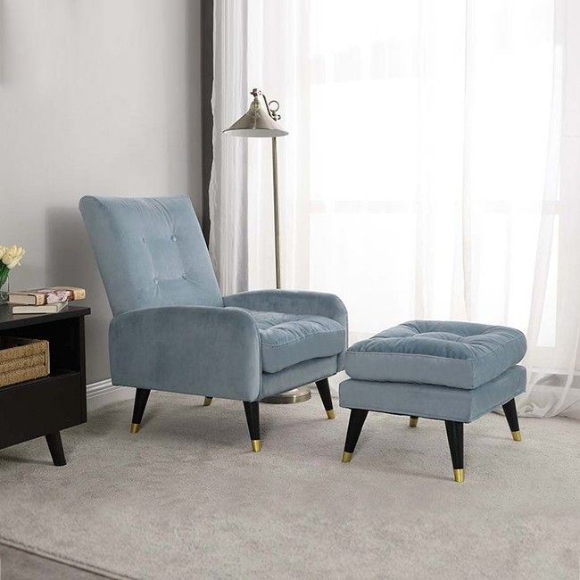 Mid Century Pink Green Blue Velvet Upholstered Lounge Chair With Ottoman Botton Tufted Chair With Adjustable Back Tufted Chair Light Blue Accent Chair Chair