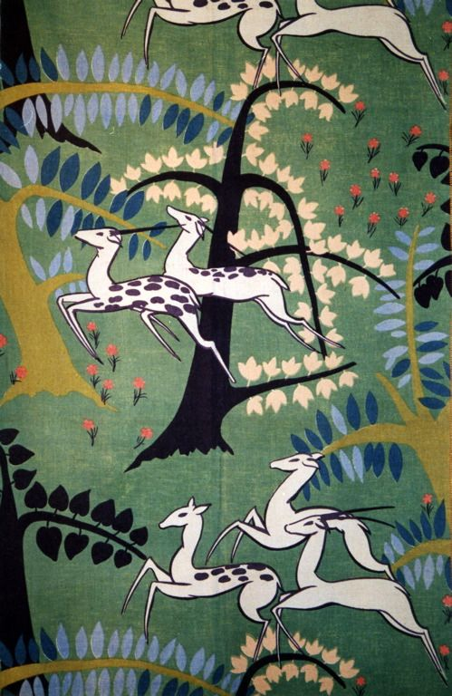 Paul Poiret (French, 1879-1944). Antelopes, c. 1930. Cotton, plain weave; block…
