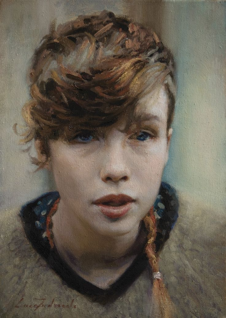 """Ella"" - Luca Indraccolo {contemporary figurative art beautiful female head brunette woman face portrait painting #loveart} <3 luca.indraccolo.com"