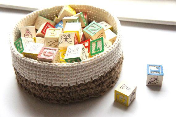 Cestas apilables  3 Crochet patrones  rústico Casa Decor por JaKiGu