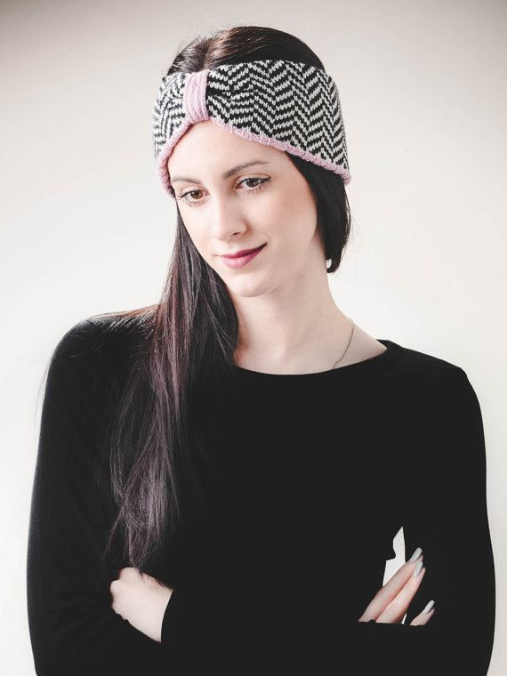 Knitted Headband, Womens clothing gift, Knit Headband, Merino Wool Ear Warmer, Merino Wool Headband, Turban Headband, Herringbone Pattern.