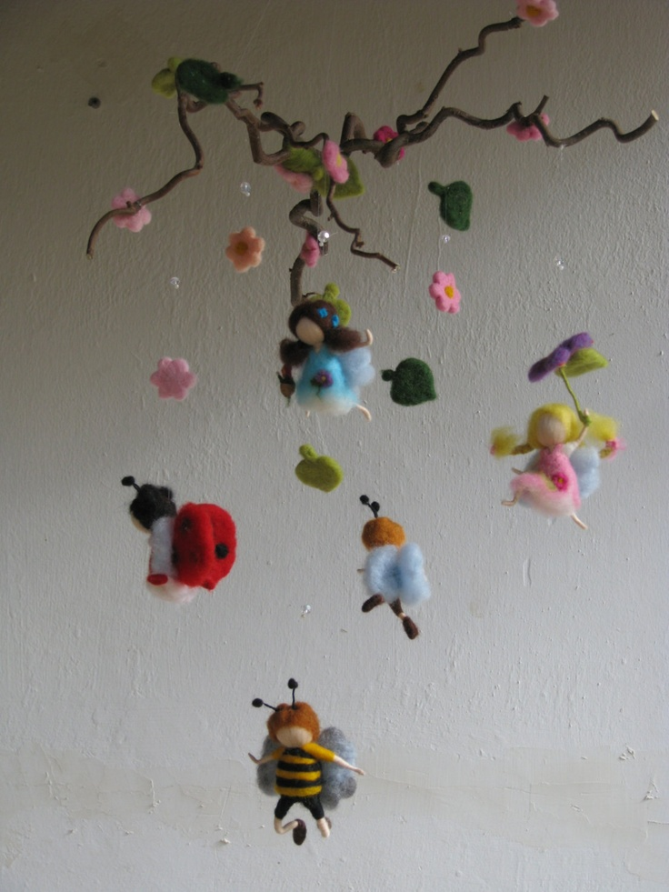 waldorf inspired needle felted mobile In the sky by Made4uByMagic, $145.00