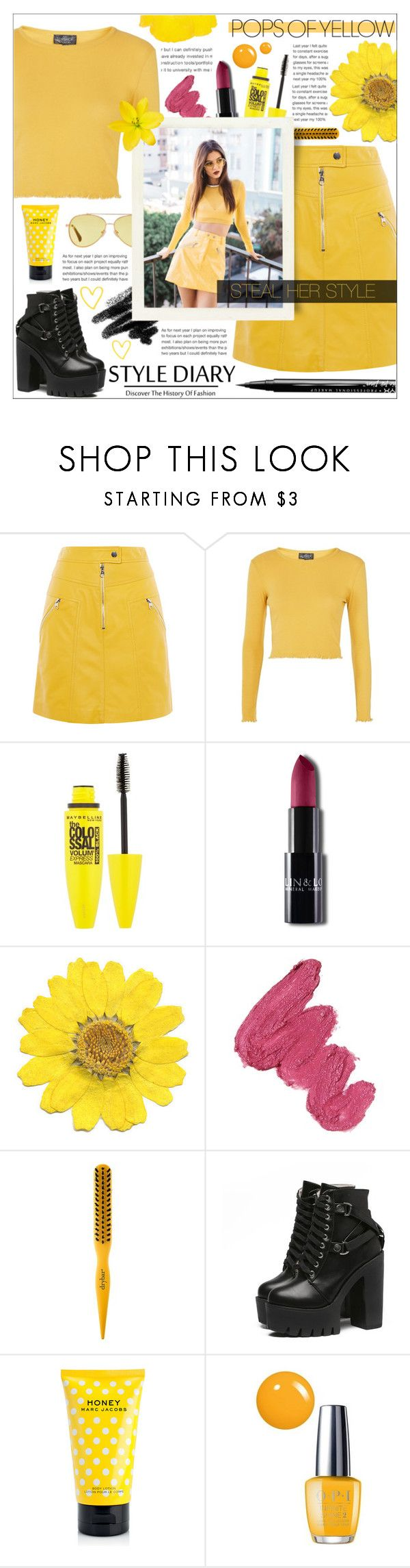 """""""Pops of Yellow // Steal Victoria's Style"""" by mariiaax ❤ liked on Polyvore featuring Karen Millen, Topshop, Maybelline, Mermaid Salon, Drybar, Marc Jacobs, OPI and NYX"""