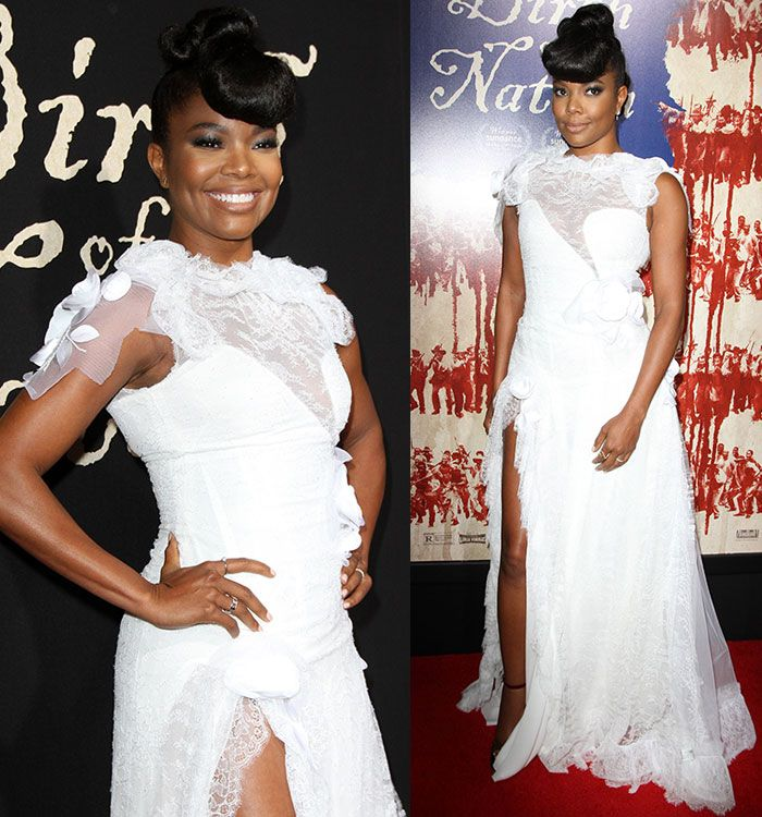 58 best gabrielle union images on pinterest gabrielle union gabrielle union channels 40s glamour in lacy white dress and velvet heels junglespirit Choice Image