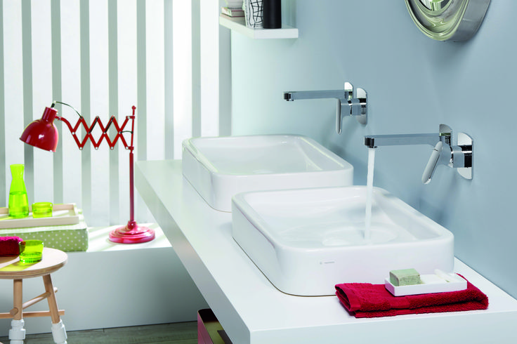 X-LIGHT Miscelatore per lavabo a muro by #NEWFORM #xlight #red #water #newform #bathideas