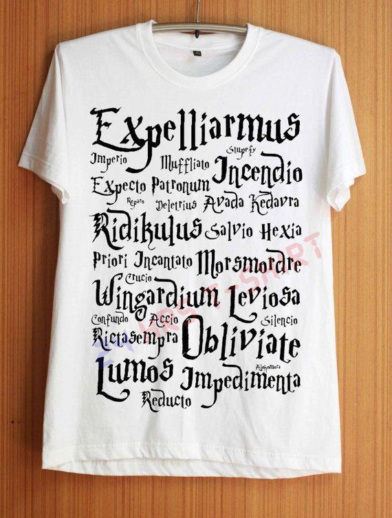 Expecto Patronum Shirt Magic Spells Harry Potter Shirts T Shirt T-Shirt TShirt Tee Shirt No Side Seams Unisex - Size S M L XL #t-shirt #camiseta #freak #friky #friki #camisetaes