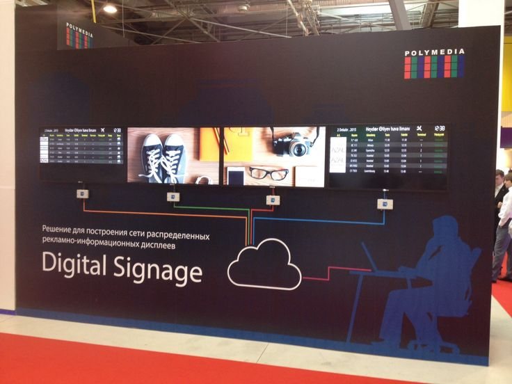 #BakuTel 2015, Azerbajan. 1) Native resolution #videowall with online data (flight information - #FIDS). 2) #Photorain - dynamically selected photos fall down and scale randomly. #spinetix #polymedia