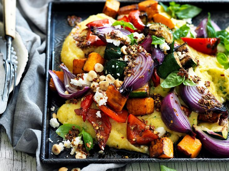 Deliciously tender roast vegetables with a creamy basil and feta polenta. This winning combination is perfect for a healthy meat-free meal any night of the week.