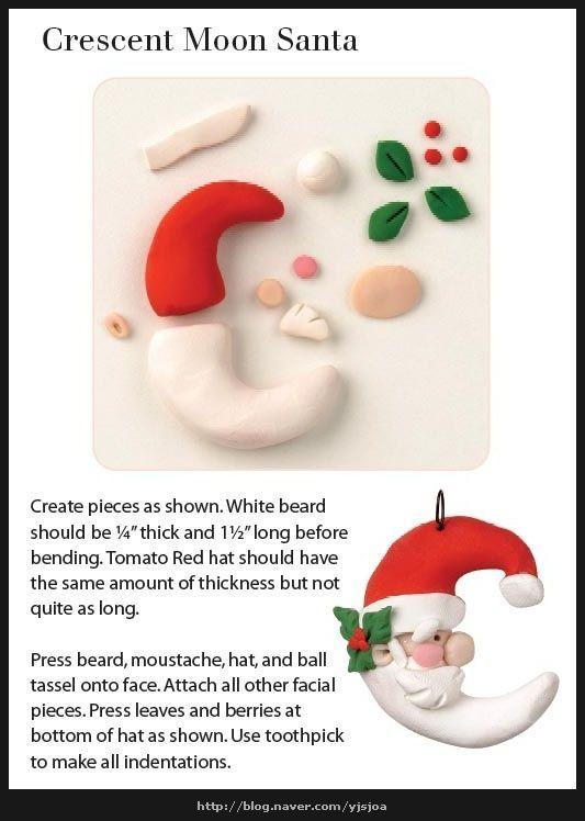 santa polymer clay ornament: