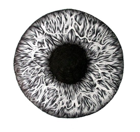 Black and white eyeball drawing