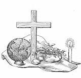 Het kruis en de aardbol staan centraal (het kruis symboliseert onze hoop de komst van de Messias, de wereldbol verwijst naar alle mensen in deze wereld, die welkom zijn in de stal.)  Paars. de kleur van ingetogenheid  1 brandende kaars:  wachten op het Licht. Schaal met takken met ontluikende bloemen:Wachten op een teken van hoop.