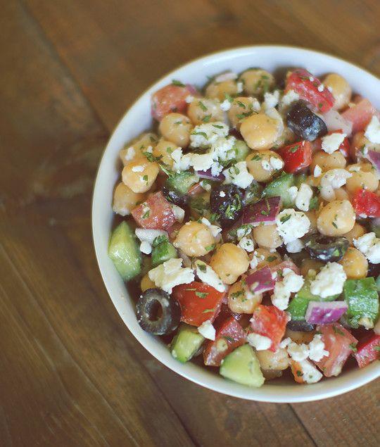 Mediterranean Bean Salad from Nourish. Made with garbanzo beans, fresh ...