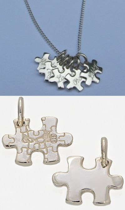Charm - TINY PUZZLE LINKS - Personalised Sterling Silver or 9ct Gold. A smaller version of our original design Puzzle Link Pendants... very cute... and just the right size for charm bracelets or when you want to wear lots of them on a necklace or chain.