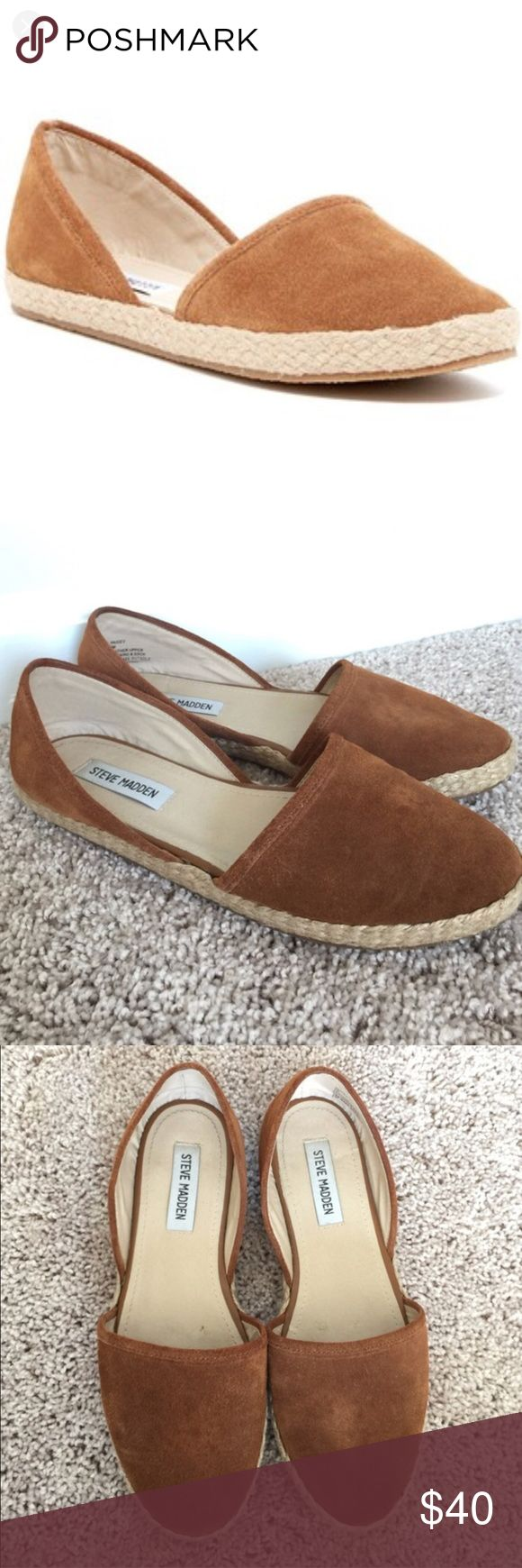 Steve Madden Paigy Camel Espadrilles Super comfortable Steve Madden espadrilles. Previously loved but still lots of life in them. Overall good condition, the last photo shows a little sign of wear on the burlap material near the very bottom sole. Steve Madden Shoes Espadrilles
