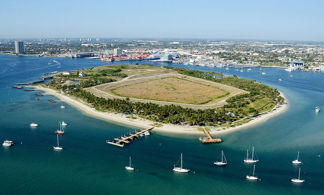 Peanut Island, Fl. -- This eighty acre tropical park is situated in the Intracoastal Waterway near the Lake Worth Inlet at the Port of Palm Beach. Looking west, south west.