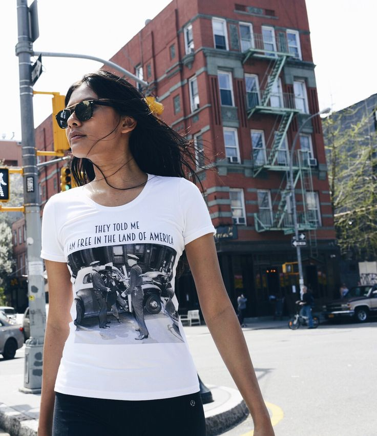 "Christabel rocking our FREEDOM ""short"" cut t-shirt !:) ABIDELESS introducing woman collection. SHOP at -> www.abideless.com #fashion #style #dope #streetwear #woman #ny #nyc #abideless #streetsnaps"