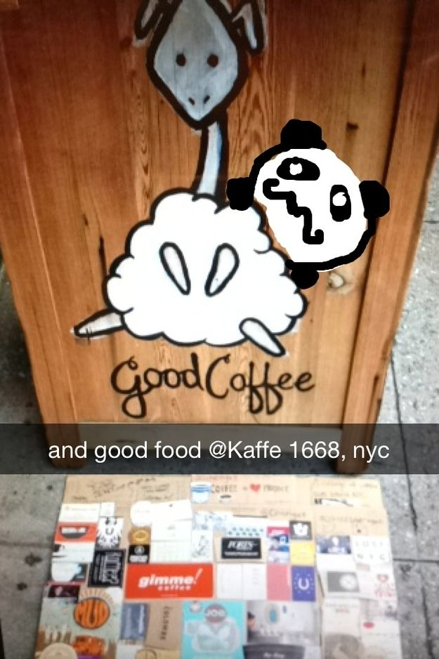 [TrBeCa] Kaffe 1668 - good coffee and good food with sheep around | Community Post: 15 Extraordinary NYC Coffee Shops In Snapchat Drawings (Brought To You By Mustache Panda)