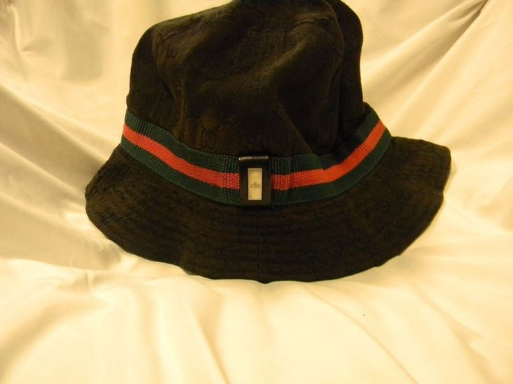 GUCCI Iconic BLACK BUCKET HAT XL L with Logo & Ribbon #Gucci #Bucket