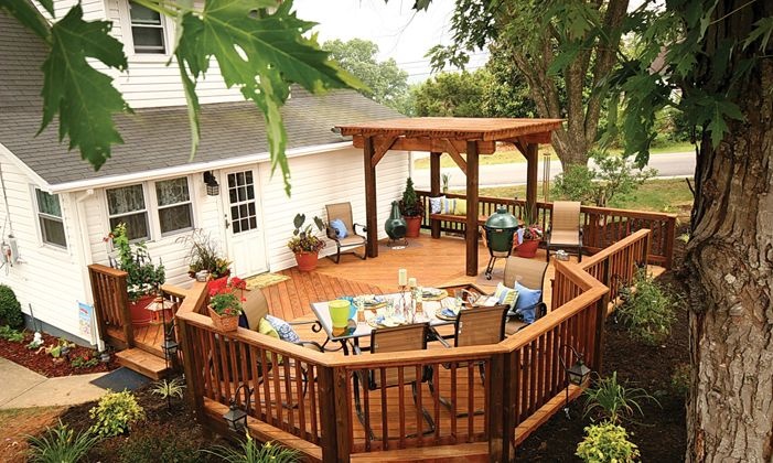 Welcome spring with a real wood deck for a natural, authentic backyard oasis. |   From:  chroniclet.com