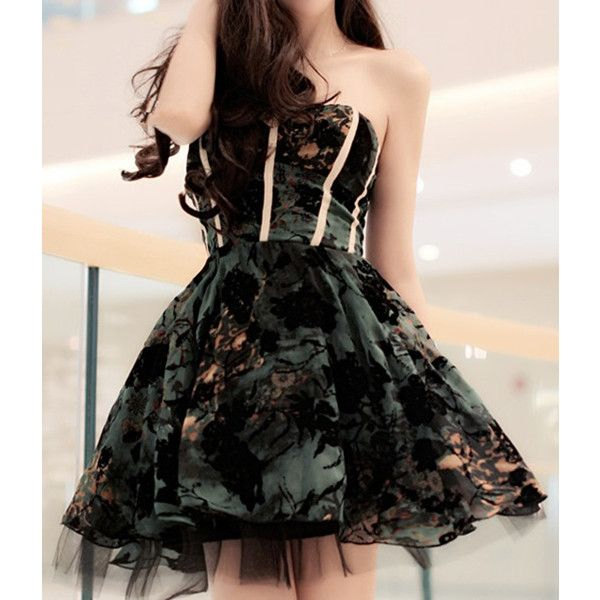Sexy Strapless Striped Floral Pattern Ball Gown Women s Dress ($16) ❤ liked on Polyvore featuring dresses, rosegal, green, striped dress, green floral dress, striped floral dress, flower print dress and floral pattern dress