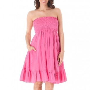 Smocked Strapless Dress with Pockets : EXCEPT for the PINK.