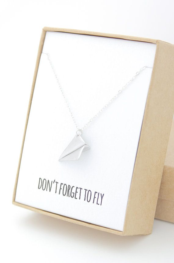 """""""Don't forget to fly"""" silver paper airplane necklace by Powder & Jade on Etsy"""