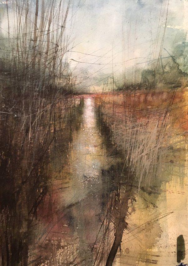 Paul Fowler  'Marsh landscape' Watercolour