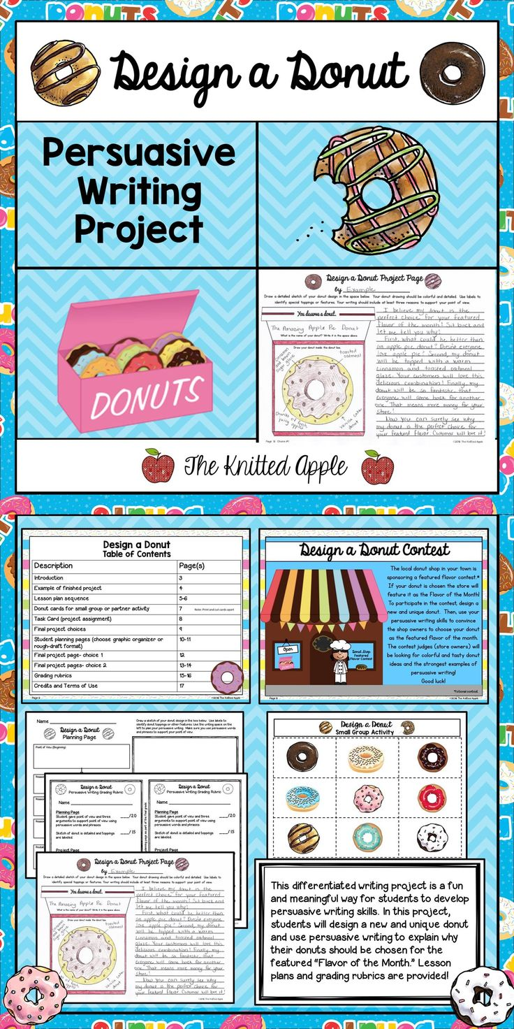 "This differentiated writing project is a fun and meaningful way for students to develop and practice persuasive writing skills. In this project, students will design new and unique donuts and use persuasive writing to explain why their donuts should be chosen for the featured ""Flavor of the Month."""