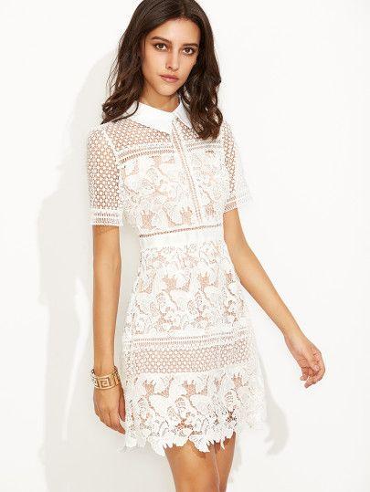 White Crochet Lace Overlay Shirt Dress