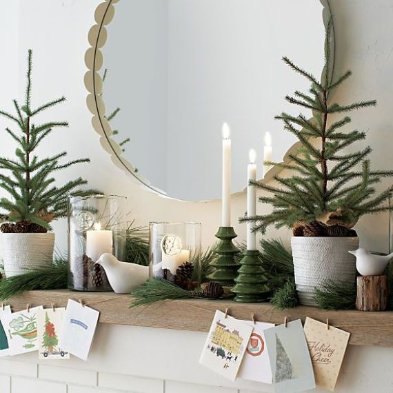 Love The Simple Garland Paired With The Brass Vessels Of Greenery On The Mantle And The M Natural Christmas Decor Christmas Mantel Decorations Christmas Mantle