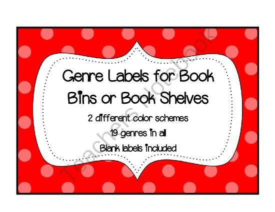 Genre Labels for Bins from Keep Calm and Teach on TeachersNotebook.com -  (12 pages)  - Genre Labels- These circular genre book bin labels are great for organizing your classroom library. There are 19 different genres represented. There are two different designs so you can choose which one you like best. The first set has a blue polka dotted