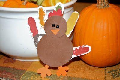 A cute twist on the traditional turkey hand print.