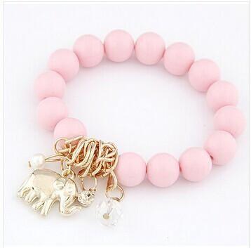 Fashion Bracelets Beads Alloy Elephant Pendant Bracelet