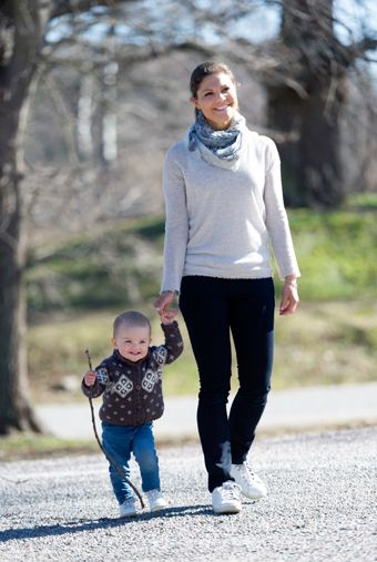 Crown Princess Victoria and Princess Estelle going for a walk.