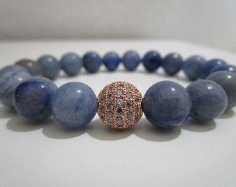Aventurina azul,Pulsera de Aventurina azul con Micropave oro rosa,Pulsera de piedras,Pulsera para mujer,Regalo para mujer,Pulsera de cuentas