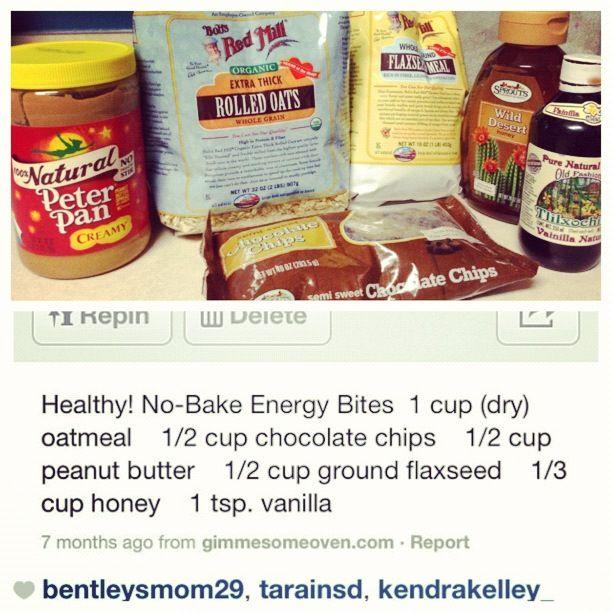 Skinny Meg Blog: No Bake Energy Bites (pb, chocolate chips, oats)