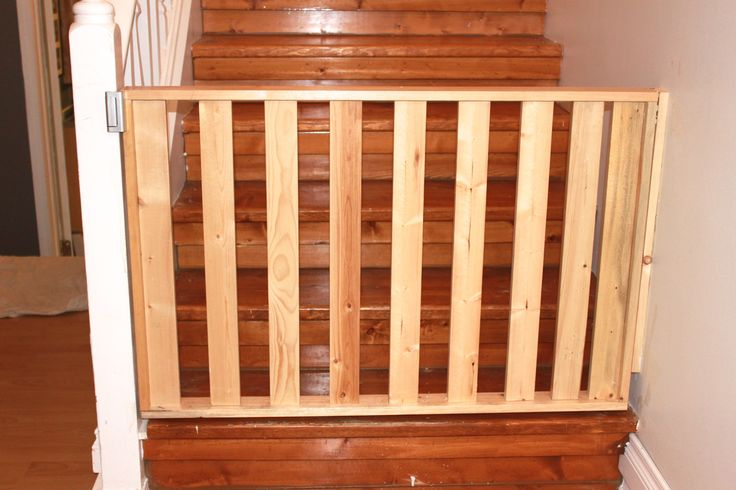DIY Safety Gate:  $10 Dollars worth of pine wood. Nail gun to put the pieces in place. Screws for structural integrity. Fence door latches to screw to wall. Deadlock.