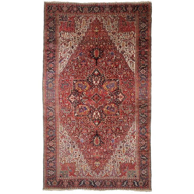 Persian Rug Heriz Oversized Large Hand Knotted Carpet For Sale