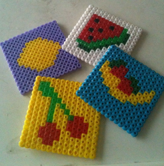 Set of 4 Perler bead coasters Summer fruits by CherishedGiftables, $8.00
